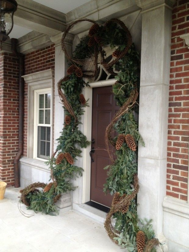 Christmas Front Door U0026 Entry Decor   Evergreen Garland, Grapevine, Large  Pinecones, Lights