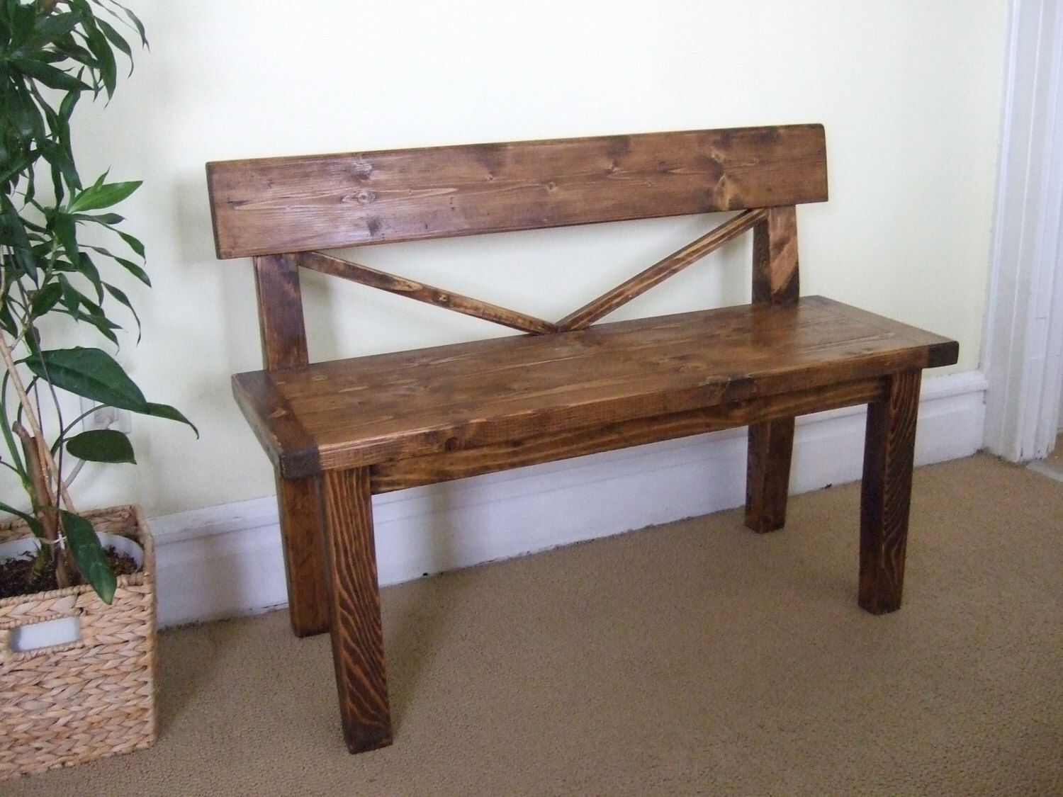 Farmhouse Style Bench | Rustic Bench With Back | Solid Wood Bench |  Handmade Bench By