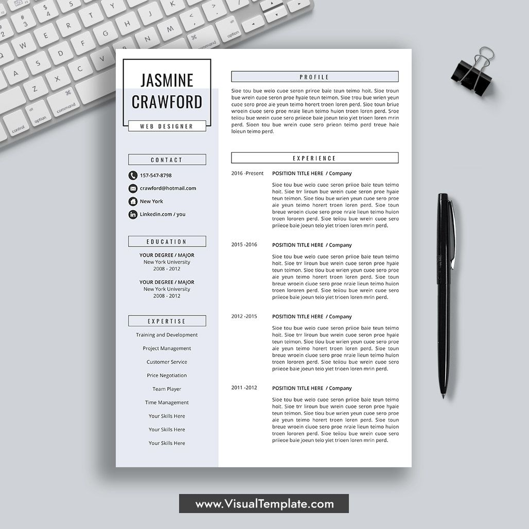 2020 Fully Editable Ms Word Resume Cv Template: 2020-2021 Pre-Formatted Resume Template With Resume Icons
