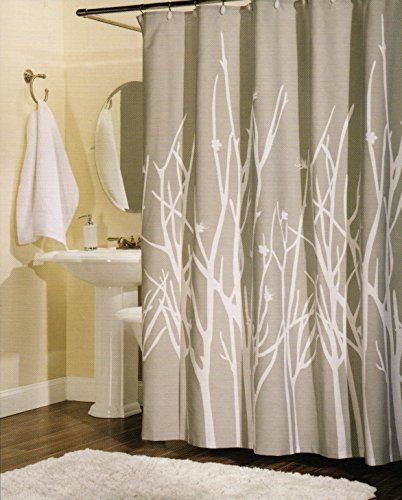 Amazon Com 100 Percent Cotton Shower Curtain Branches Grey White Gray 72 Inch By 72 Inch Shower Curtain Curtains Cotton Shower Curtain Shower Curtain