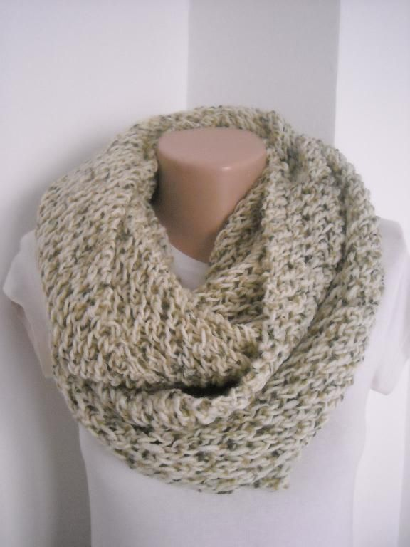 Knit infinity lace scarf,easy knit scarf - via @Craftsy ...