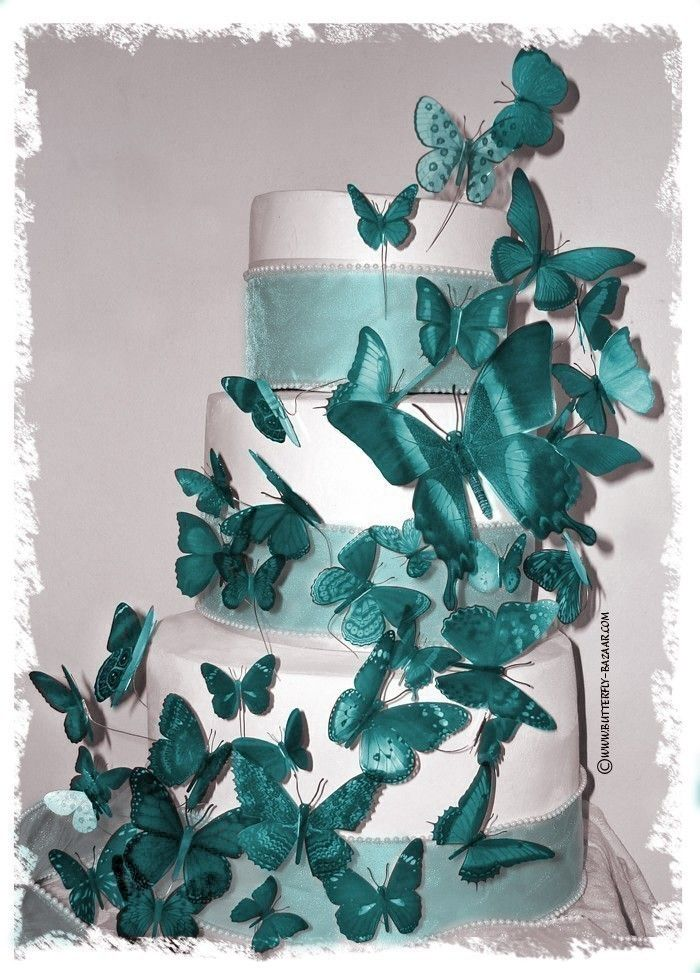 Teal Butterfly Wedding Cake Decoration Butterfly Wedding Cake
