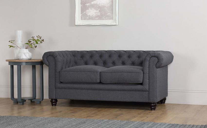 Hampton Slate Grey Fabric Chesterfield Sofa - fabric chesterfield sofa