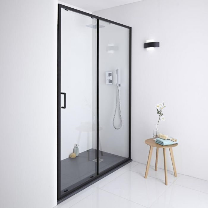 Milano Nero Black Shower Sliding Door 1000mm X 1950mm Black Shower Doors Shower Doors Sliding Shower Door