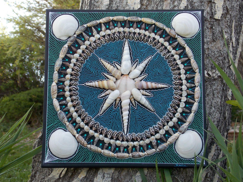 Shell Designs Seashell Mandalacompass Star Design Sailors Valentine 12 X 12