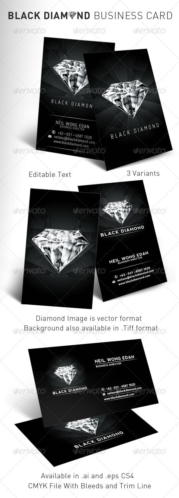 Black diamond business card business cards business and card black diamond business card magicingreecefo Image collections