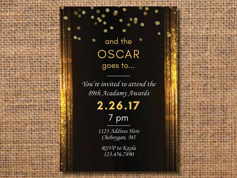 Oscar Party Invitation Oscar Party Academy Awards Party Academy