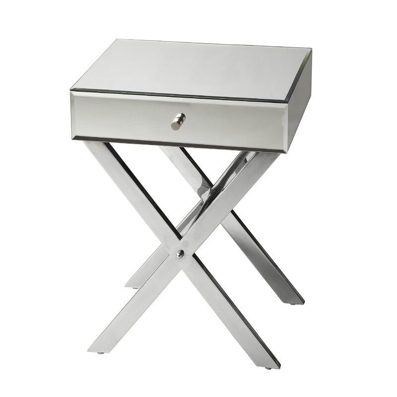 Rosinski Vincennes End Table With Storage Mirrored Side Tables Mirrored Nightstand End Tables With Storage