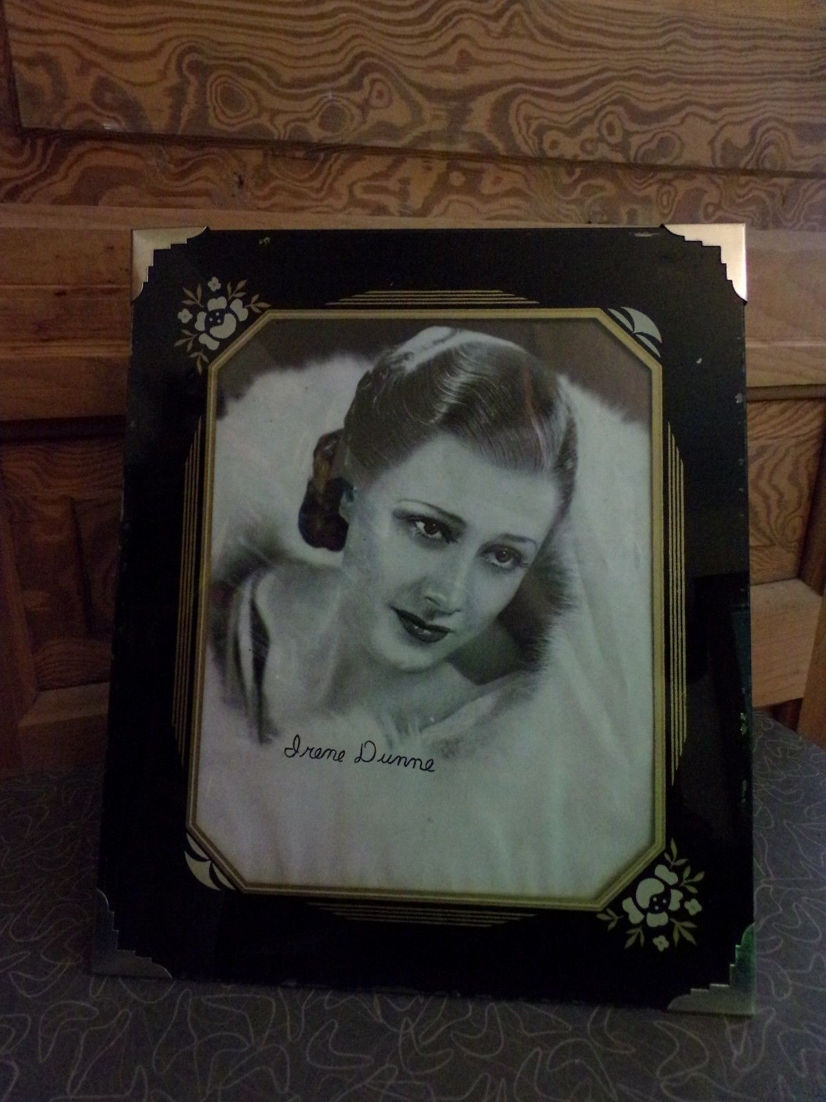 Vintage Art Deco Reverse Painted Glass Picture Frame