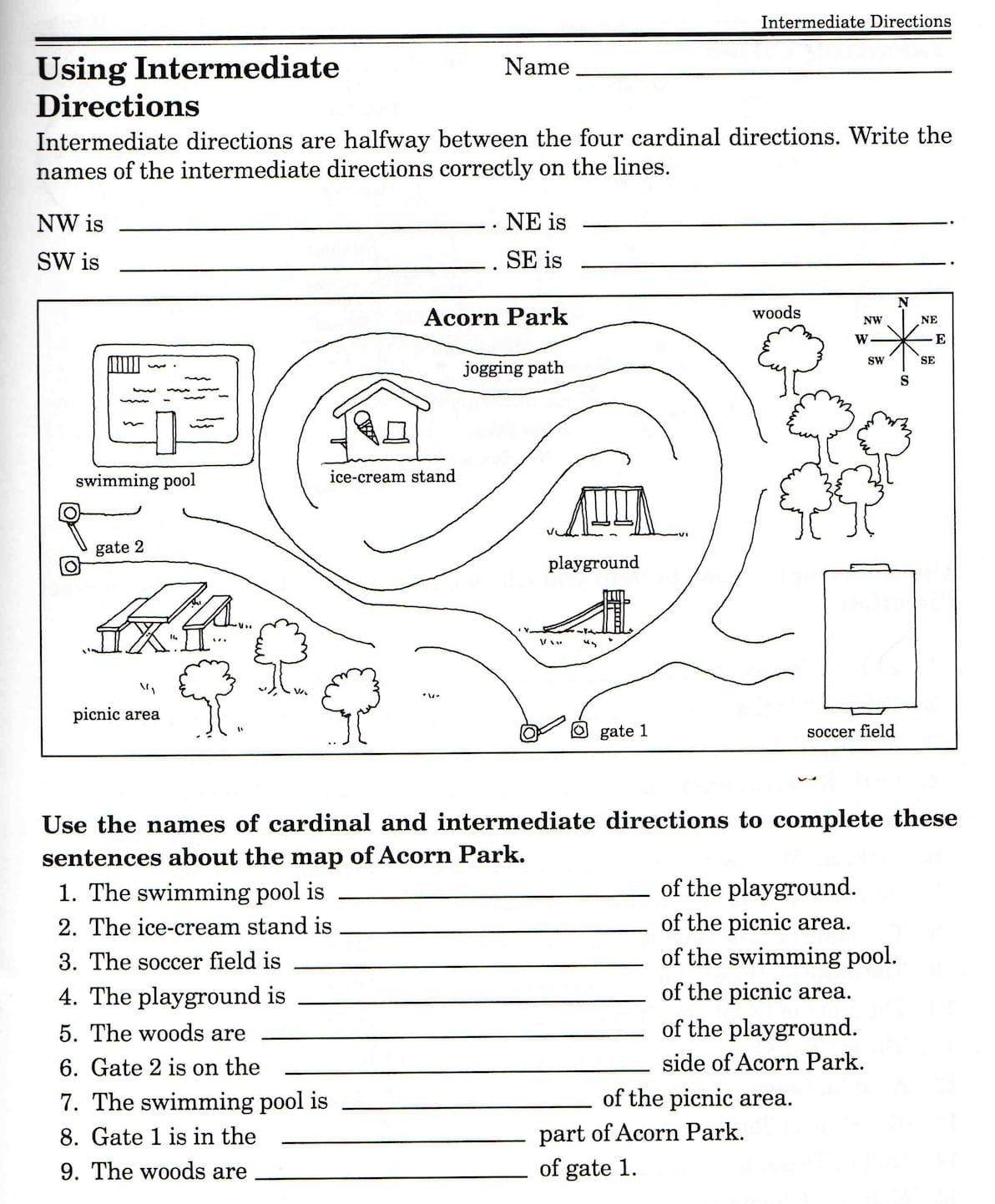 Compass Rose Worksheet 3rd Grade Second Grade Map Skills Worksheets Map Skills Worksheets 3rd In 2020 Map Skills Worksheets Geography Worksheets Map Skills