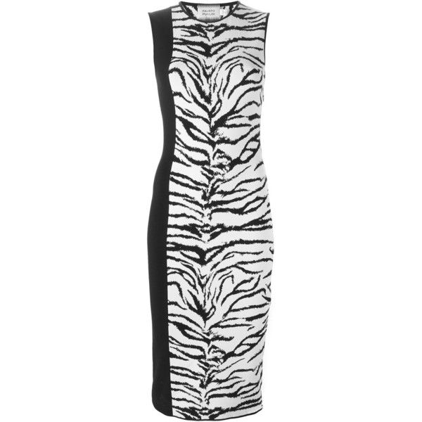Fausto Puglisi Tiger Intarsia Knit Fitted Dress ($461) ❤ liked on Polyvore featuring dresses, white, white knit dress, white fitted dress, knit dress, tight dresses and tiger dress