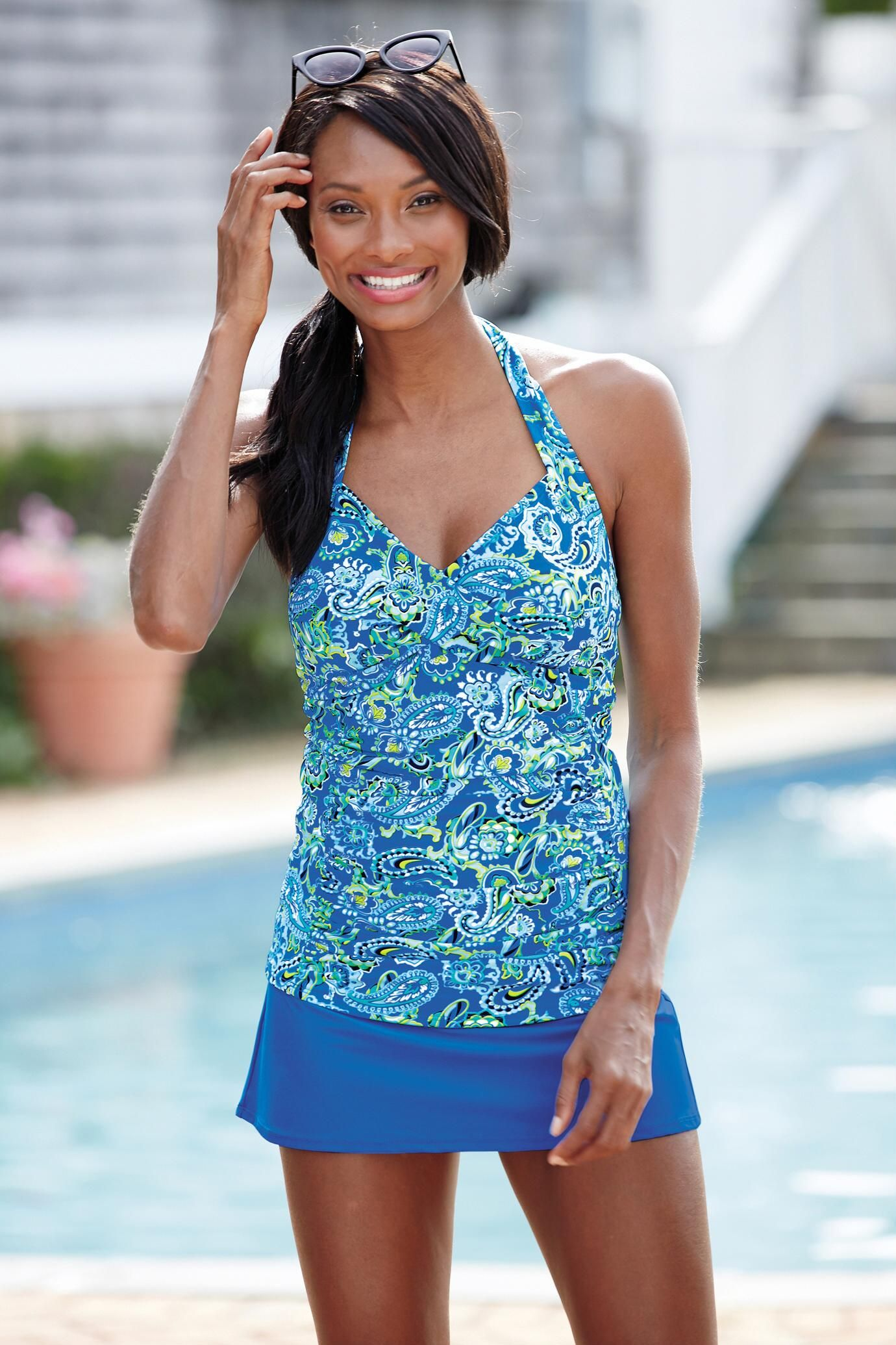 f99363737ffb2 Paisley Tide Water Ruched Halter Skirtini by Shape Benefits® | Chadwicks of  Boston