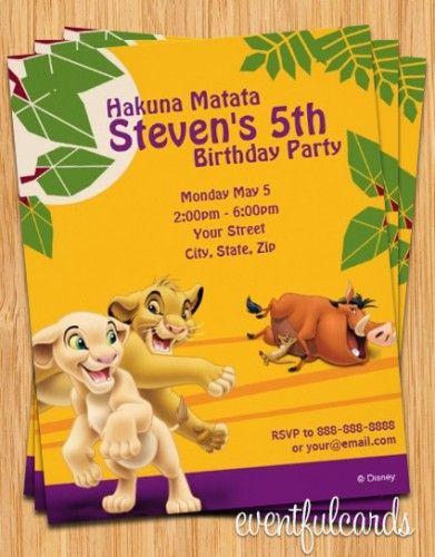 Lion King Birthday Party Invitation Birthday ideas Pinterest