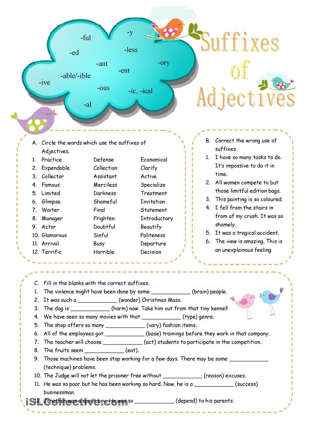 Suffixes of Adjectives | Education! | Pinterest | English ...