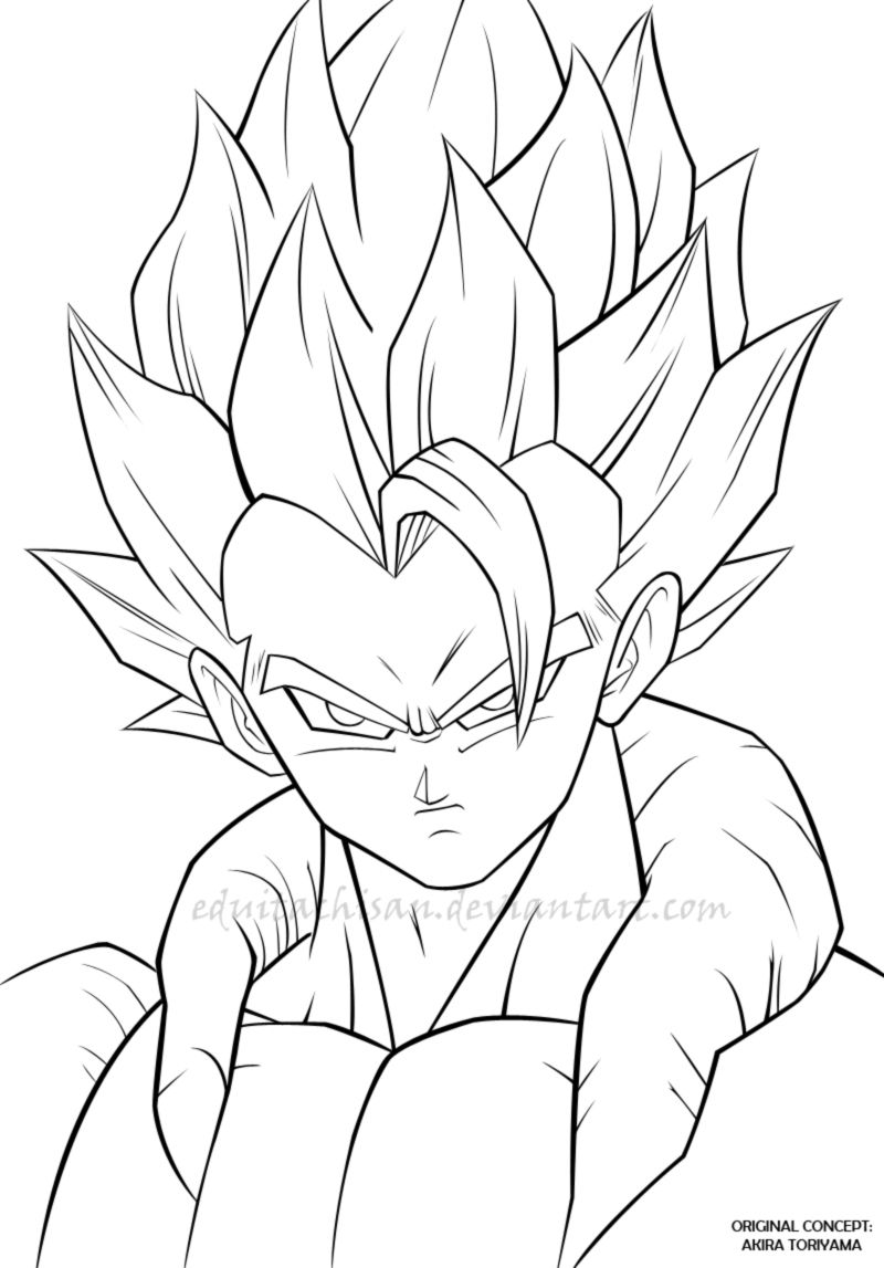 Easy D Line Drawings : Gogeta dbz lineart by eduitachisan on deviantart