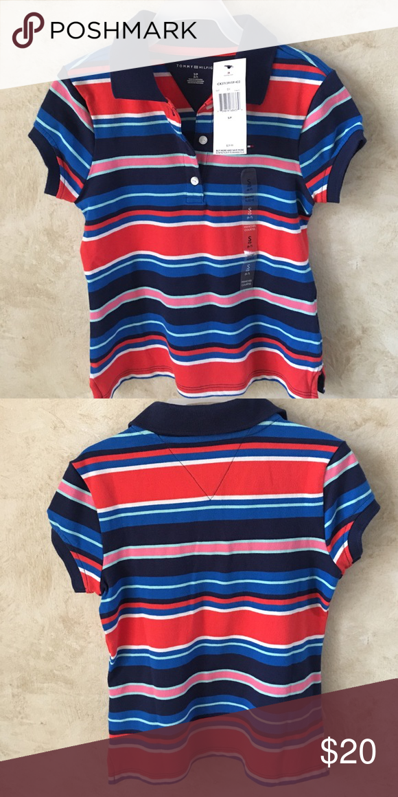 03e236c42 Tommy Hilfiger stripped Polo shirt NWT striped Tommy Hilfiger Polo shirt! 98%  cotton and 2% elastase. Feel free to make an offer.