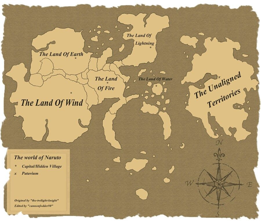 Naruto world map | Alternate universe | Pinterest | Naruto, Anime ...