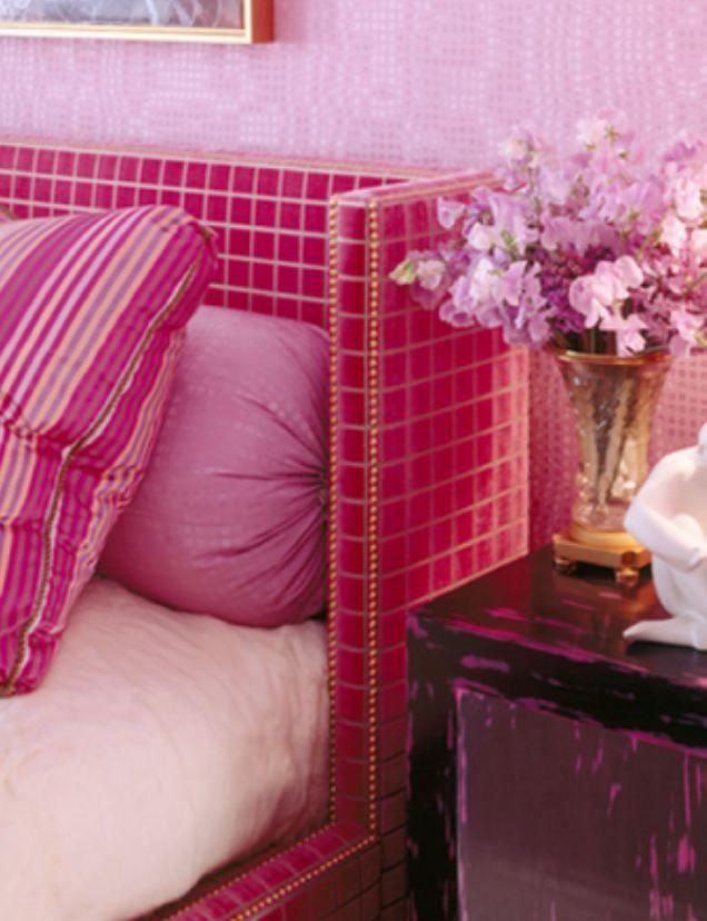 grey fur rug padded bench closet design ideas | Wrap around headboard | Pink room, Interior design ...