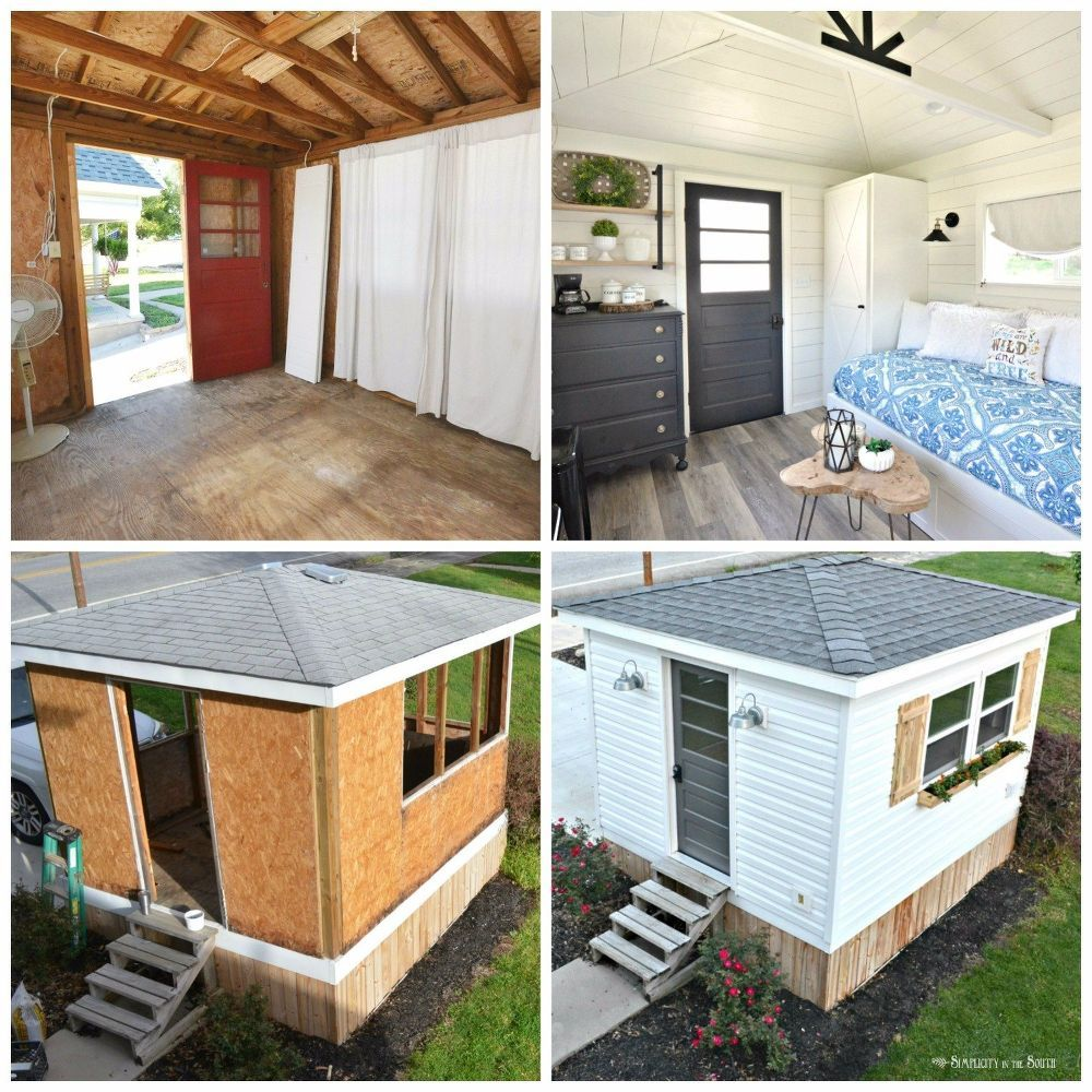 From Garden Shed To Modern Farmhouse Guest Cottage In 5 Weeks Backyard Guest Houses Guest House Shed Shed To Tiny House