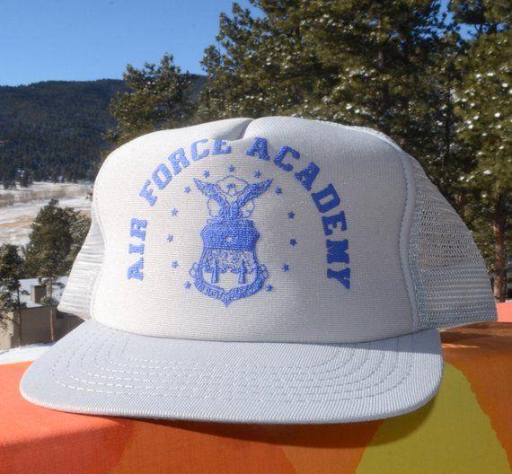 9526db5cc7acd vintage 80s snapback baseball cap AIR FORCE academy mesh hat rockstar usafa