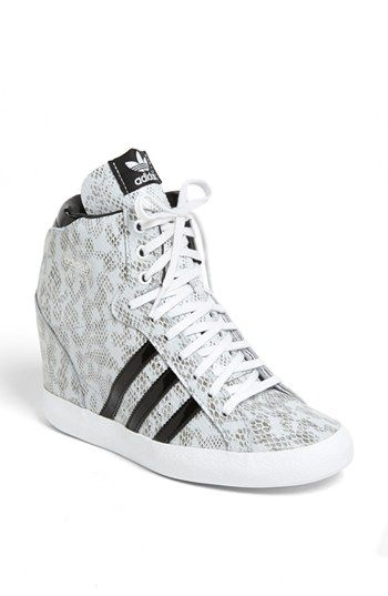 97d57f819bf And now  adidas enters the wedge sneaker arena with a serpent s hiss  Women s  adidas  Basket Profi  Hidden Wedge Sneaker in White Black via  Nordstrom
