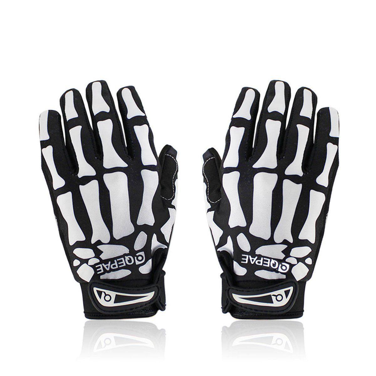 Padded Anti-slip Warm Motor Bike Bicycle Cycling Full Finger Gloves Skull