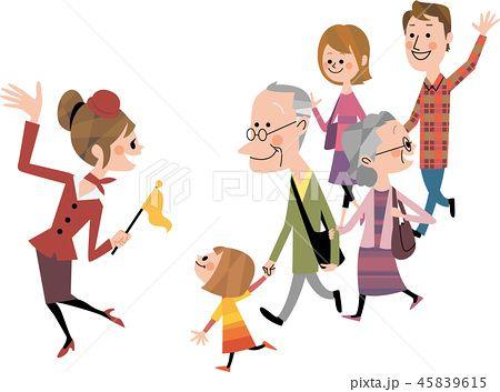 家族で観光ツアーのイラスト素材no45839615写真素材イラスト販売