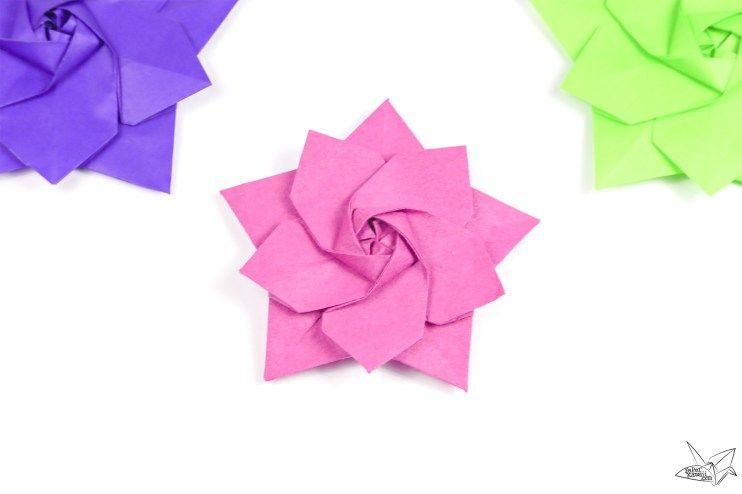 Origami Sakura Star Tutorial Designed By Ali Bahmani Paper Kawaii Origami Flowers Tutorial Origami Flowers Origami Patterns