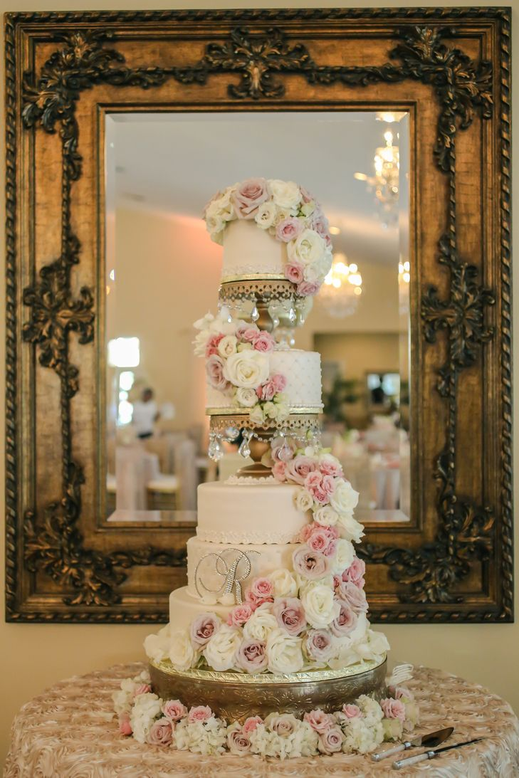 Gold Blush Ivory 4 Foot Tall Wedding Cake By The