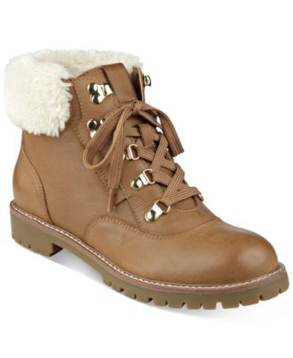 TOMMY HILFIGER Tommy Hilfiger Tucker Lace-Up Faux-Fur Ankle Booties. #tommyhilfiger #shoes # all women