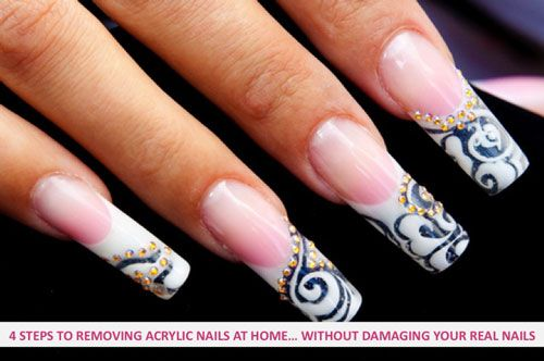 4 steps removing acrylic nails