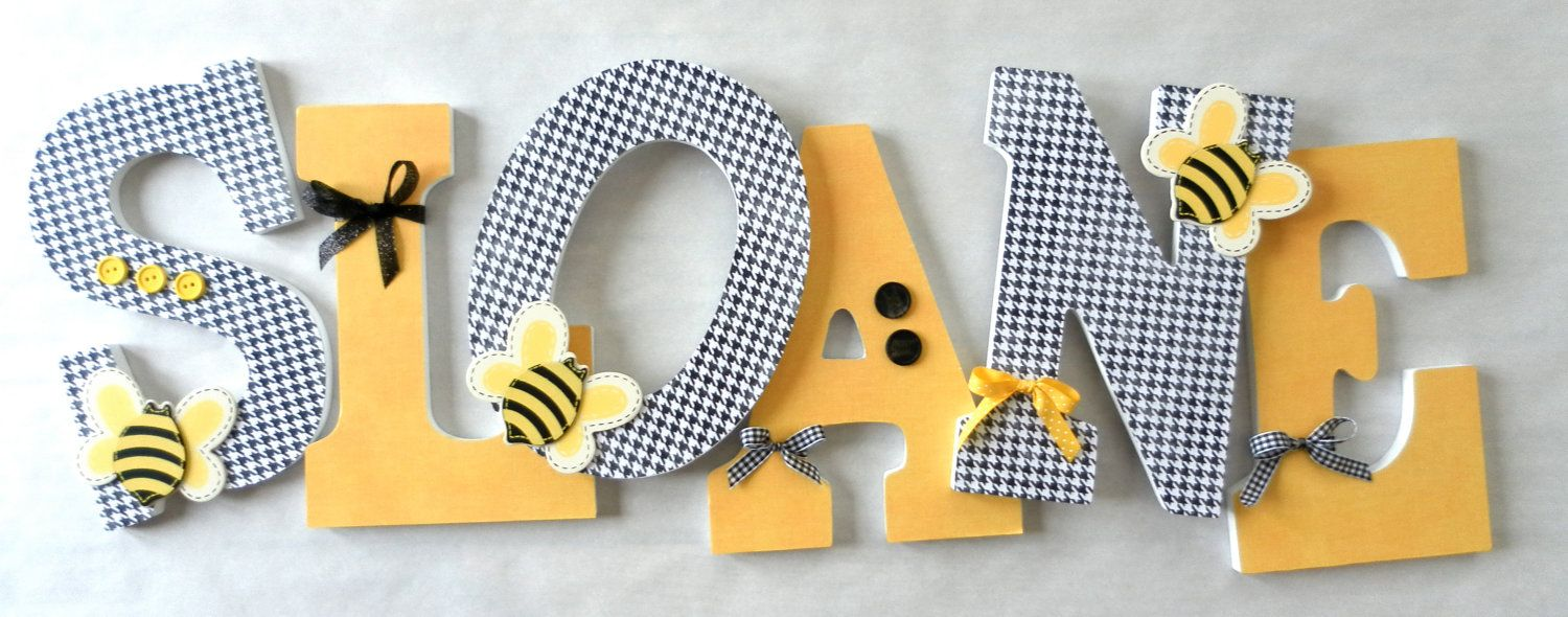 Custom Wooden Wall Hanging Nursery Letters: Black, White, and Yellow ...