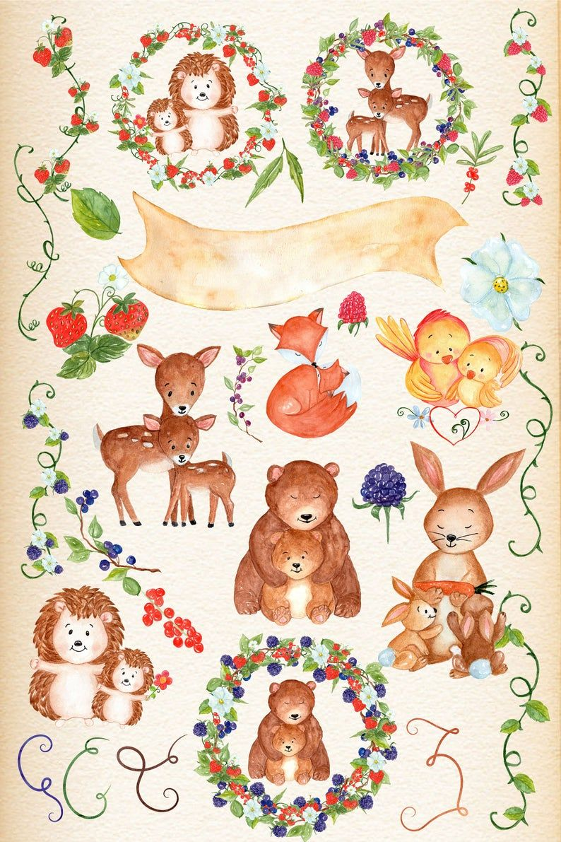 Mother And Baby Animals Clipart Forest Animals Etsy Baby Animals Mother And Baby Animals Animal Clipart