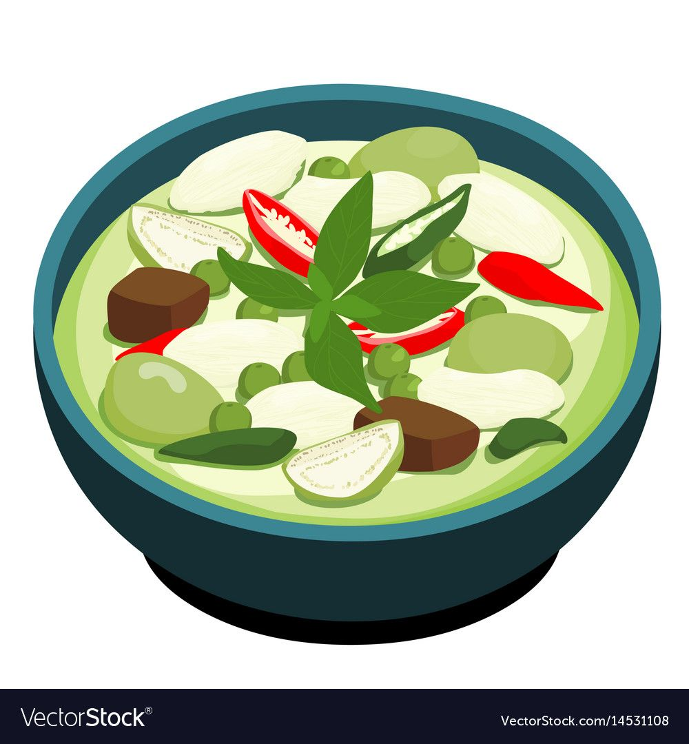 Green Chicken Curry Popular Thai Food Vector Illustration Download A Free Preview Or High Quality Adobe Illustrator Ai Eps Curry Chicken Thai Recipes Curry