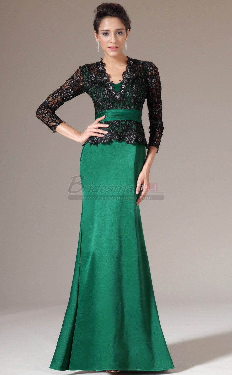 V neck long matte satin lace green mermaid bridesmaid dress with v neck long matte satin lace green mermaid bridesmaid dress with long sleeve jt ombrellifo Image collections
