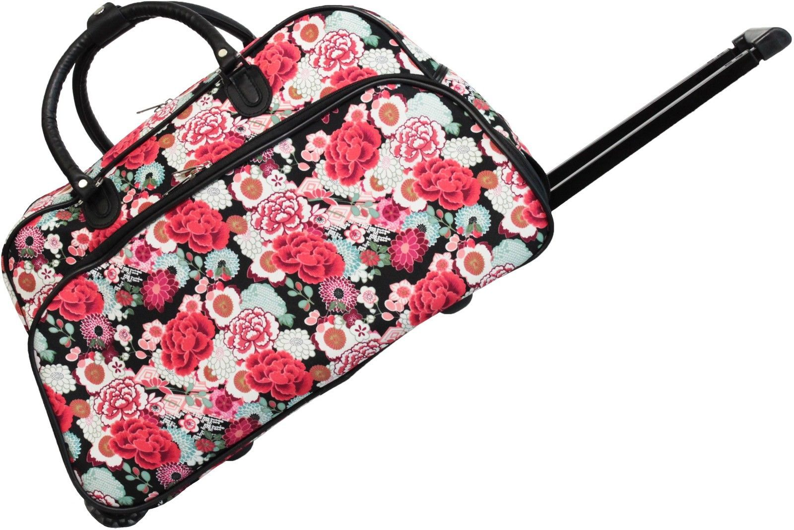61.71$  Buy here - http://vibmp.justgood.pw/vig/item.php?t=2pojgvy9471 - Rolling Duffle Bag Carry On Flower 21 inch Wheeled Tote Luggage Overnight Travel 61.71$
