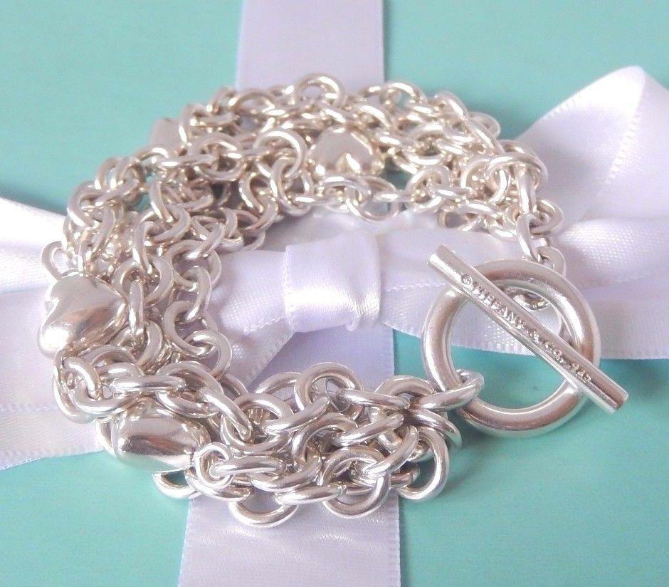 501527134 Tiffany & Co Silver 5 Five Multi Strand Chain Puffed Heart Toggle Heavy  Bracelet #TiffanyCo