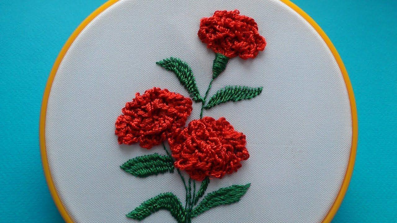 Embroidery Carnation Flowers Vyshivka Gvozdiki Youtube Brazilian Embroidery Ribbon Embroidery Hardanger Embroidery