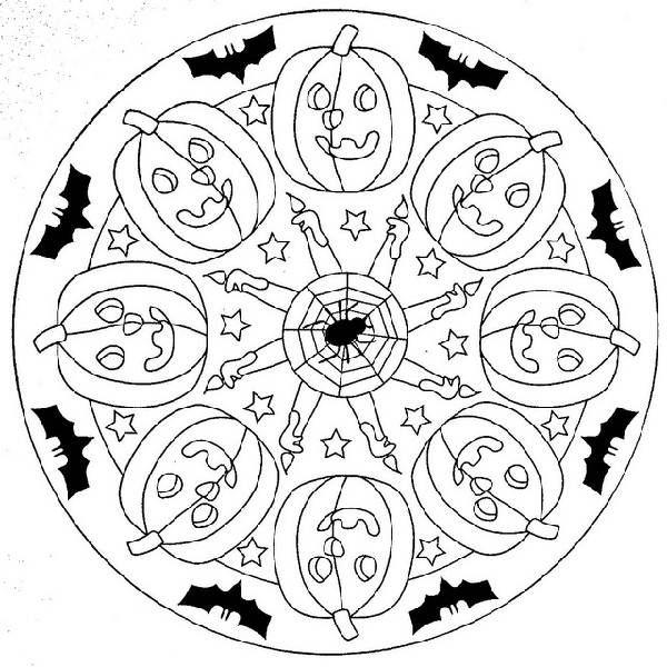 Halloween Mandala Coloring Pages Halloween Pinterest Mandala