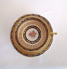 DOUBLE PARAGON ROSES BOUQUET DARK BLUE & GOLD CUP SAUCER