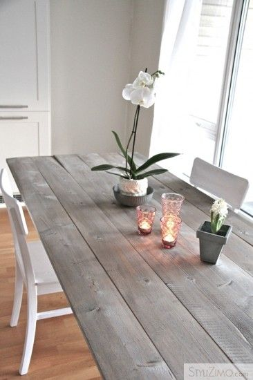 Diy Dining Table Home Stained
