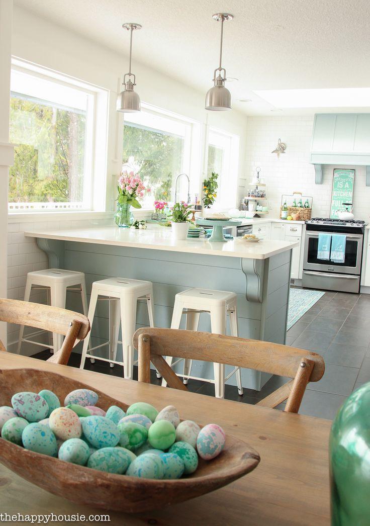 Coastal Cottage Style Spring Kitchen Tour - The Happy Housie Beach