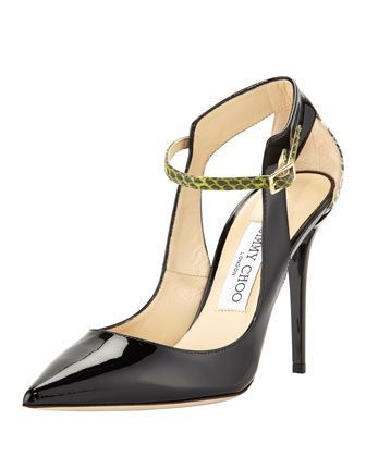 Jimmy Choo Mystic Snakeskin-Trimmed Pumps fashionable cheap online 9ZNJUt