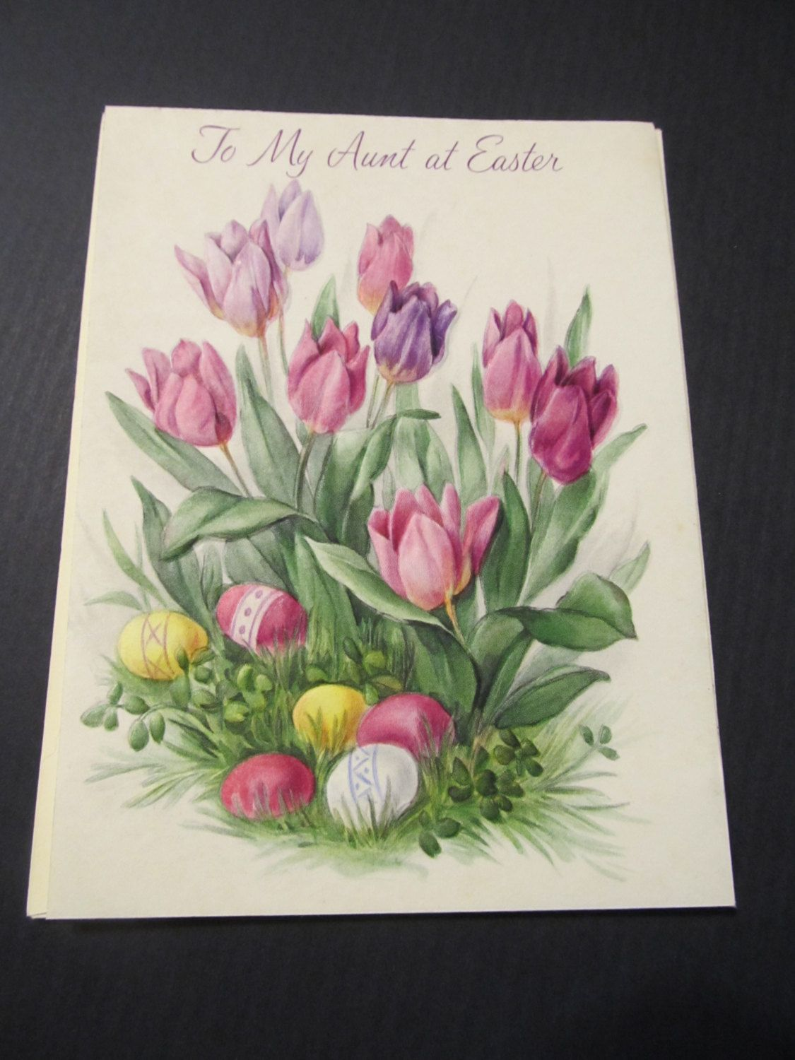 To My Aunt At Easter Purple Tulips Easter Eggs Greeting Card