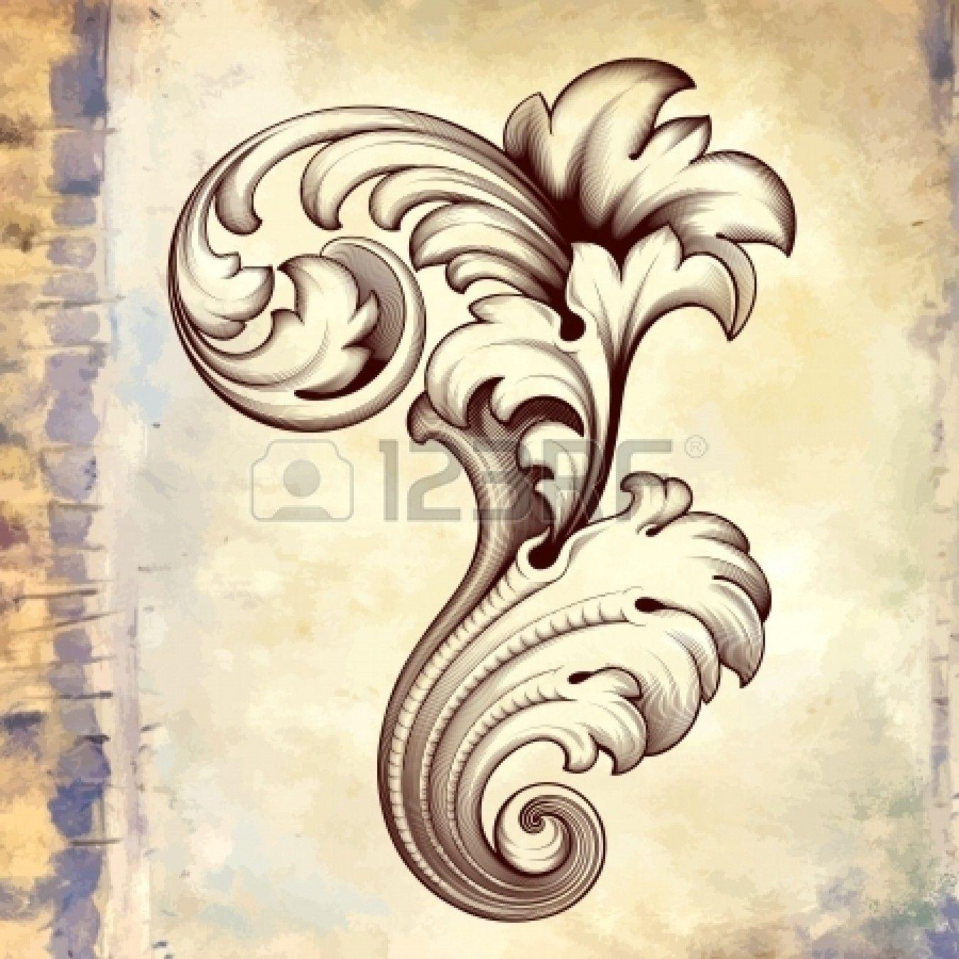 grabado de época barroca filigrana floral scroll marco diseño de la ...