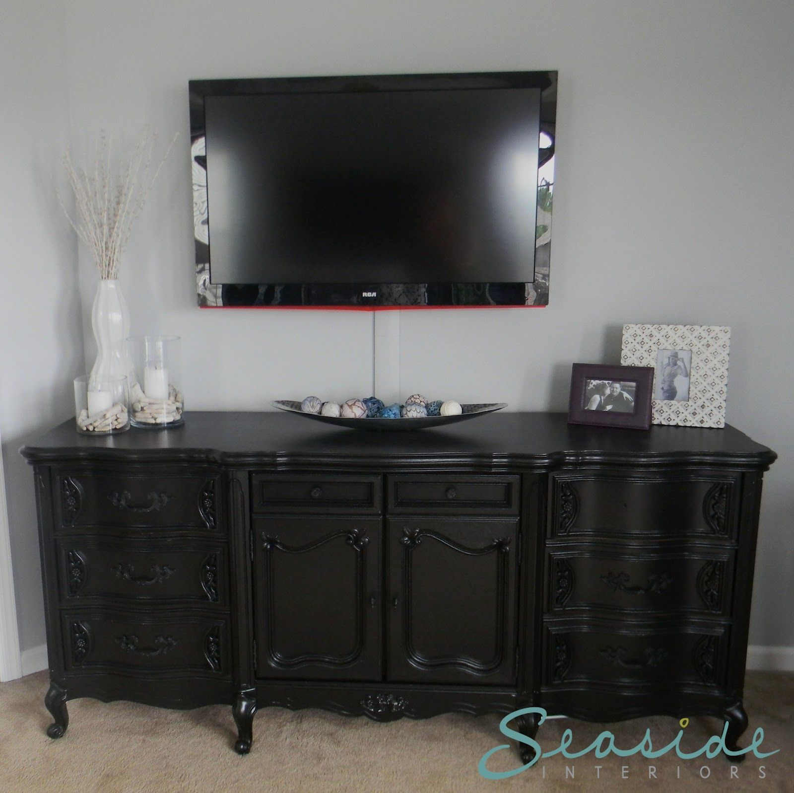tv mounted above dresser | Home Sweet: Home | Pinterest ...