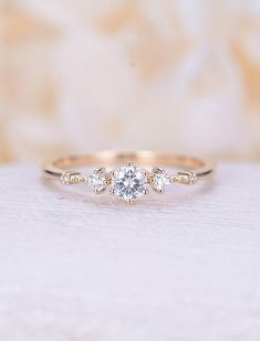 moissanite engagement ring 14k yellow gold Vintage engagement ring wedding unique ring Promise Anniversary