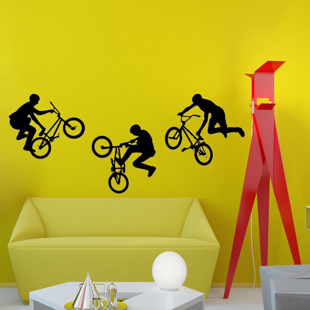 Wall Decals Jump Bike Cyclist BMX Freestyle Jumping Extreme Sports ...
