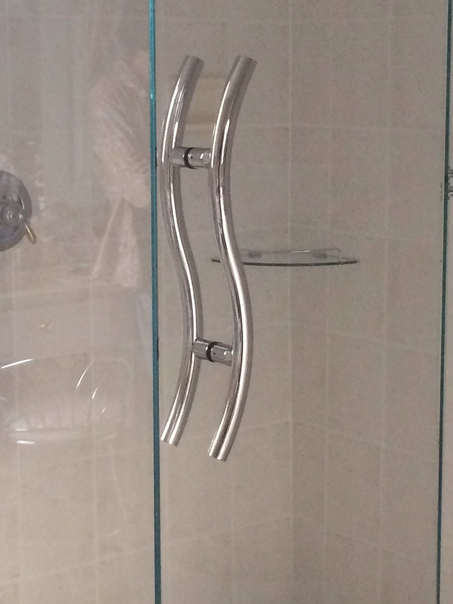 24 S Curved Handle In Polished Chrome Shower Door Handles Door