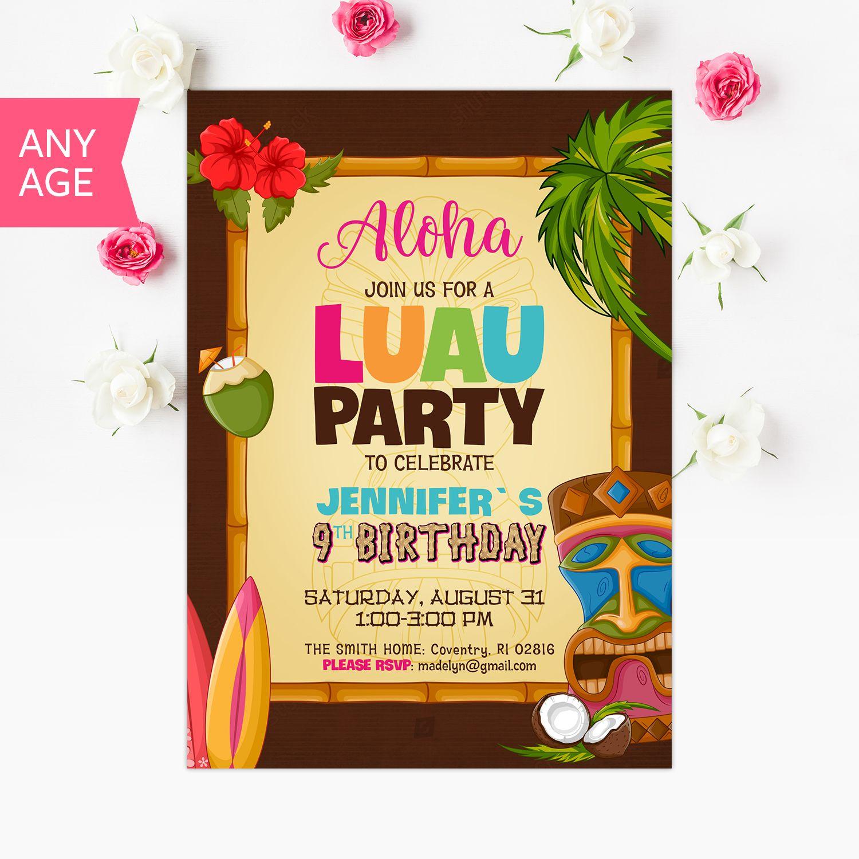 Luau Invitation, Luau Birthday, Luau Invite, Hawaiian Invitation ...